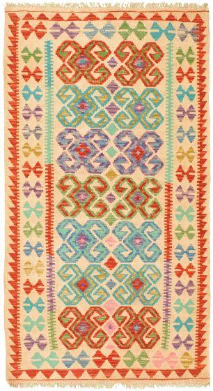 Bordered  Geometric Ivory Area rug 3x5 Turkish Flat-weave 329998