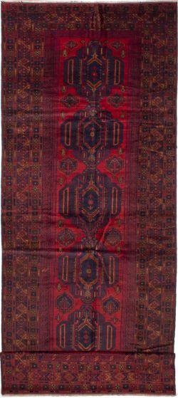 Bordered  Geometric Red Runner rug 15-ft-runner Afghan Hand-knotted 278371