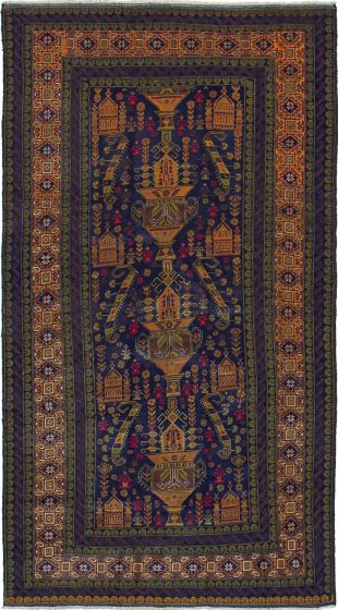 Traditional  Tribal Blue Area rug Unique Afghan Hand-knotted 226585