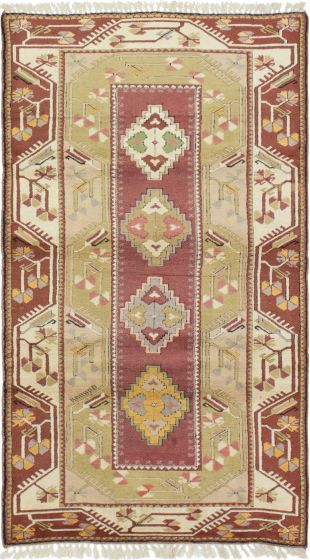 Bordered  Traditional Green Area rug 4x6 Turkish Hand-knotted 293758