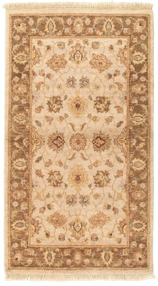 Bordered  Traditional Ivory Area rug 3x5 Afghan Hand-knotted 330442