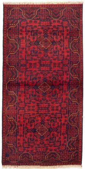 Bordered  Tribal Red Runner rug 6-ft-runner Afghan Hand-knotted 330308