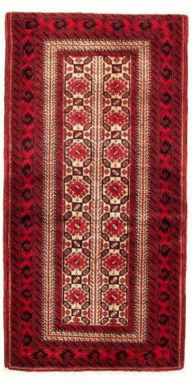 Bordered  Tribal Ivory Area rug 3x5 Afghan Hand-knotted 334746