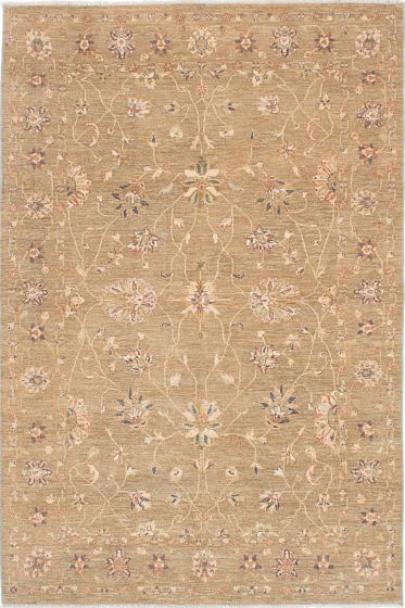Traditional Ivory Area rug 5x8 Indian Hand-knotted 223687