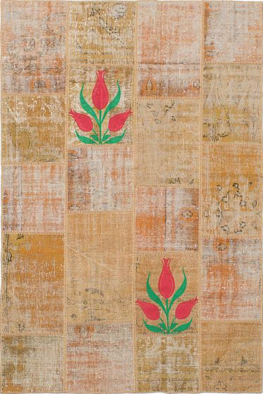 Transitional Brown Area rug 5x8 Turkish Hand-knotted 231703