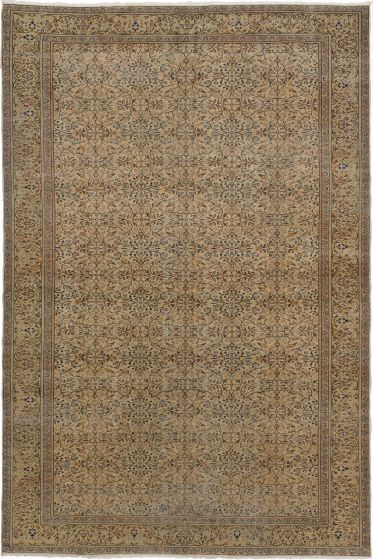 Bordered  Traditional Ivory Area rug 5x8 Turkish Hand-knotted 279763