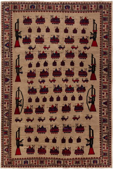 Bordered  Tribal Brown Area rug 5x8 Afghan Hand-knotted 280226