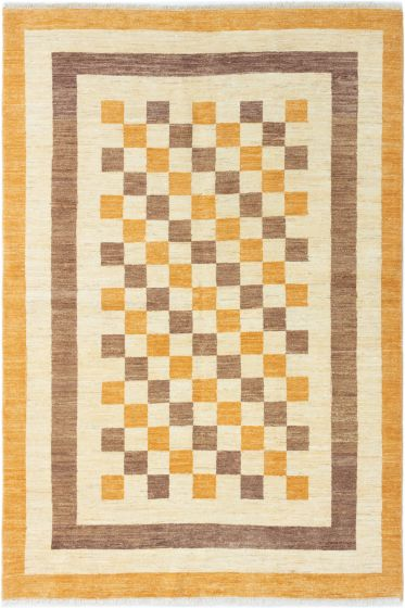 Bordered  Traditional Ivory Area rug 5x8 Afghan Hand-knotted 280354