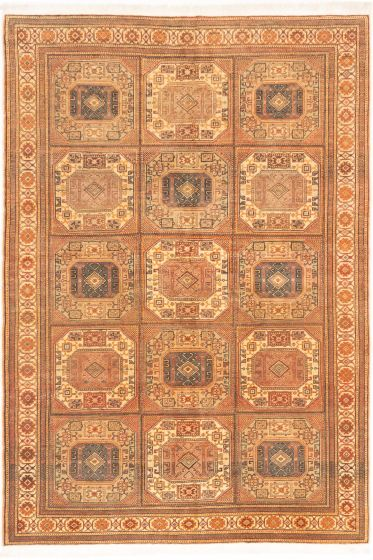 Bordered  Geometric Brown Area rug 6x9 Turkish Hand-knotted 280888
