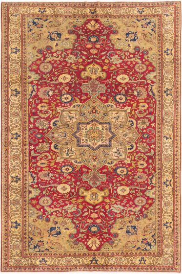 Bordered  Traditional Red Area rug 6x9 Turkish Hand-knotted 280901