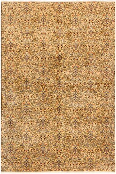 Bordered  Transitional Ivory Area rug 6x9 Turkish Hand-knotted 281006