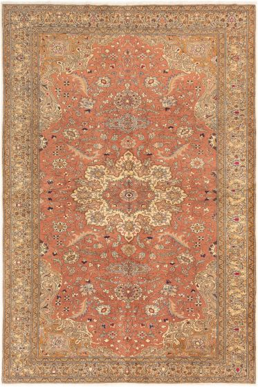 Bordered  Traditional Brown Area rug 6x9 Turkish Hand-knotted 281010