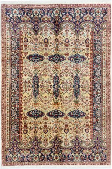 Bordered  Traditional Ivory Area rug 6x9 Turkish Hand-knotted 281063