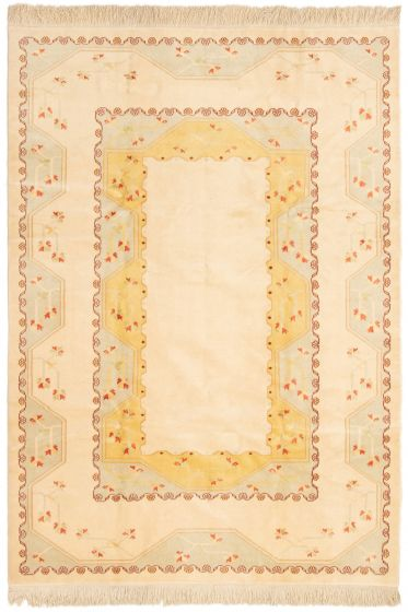 Bordered  Traditional Ivory Area rug Unique Turkish Hand-knotted 293147