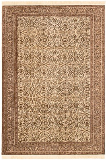 Bordered  Traditional Ivory Area rug 6x9 Turkish Hand-knotted 293165