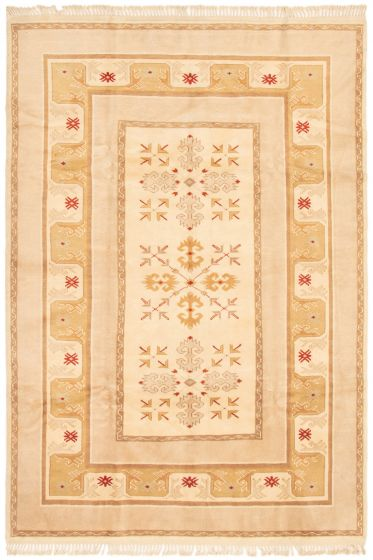 Bordered  Traditional Ivory Area rug 5x8 Turkish Hand-knotted 293181