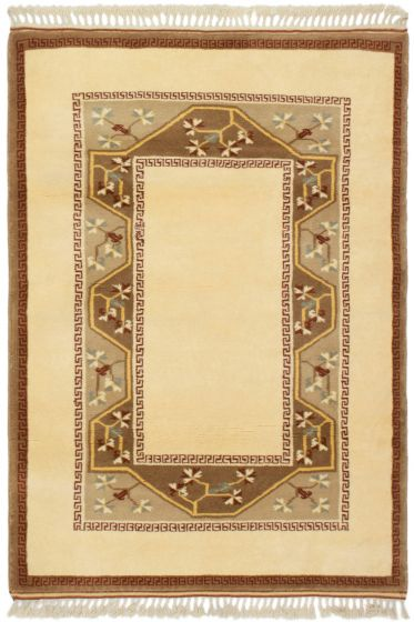 Bordered  Traditional Ivory Area rug 3x5 Turkish Hand-knotted 293892