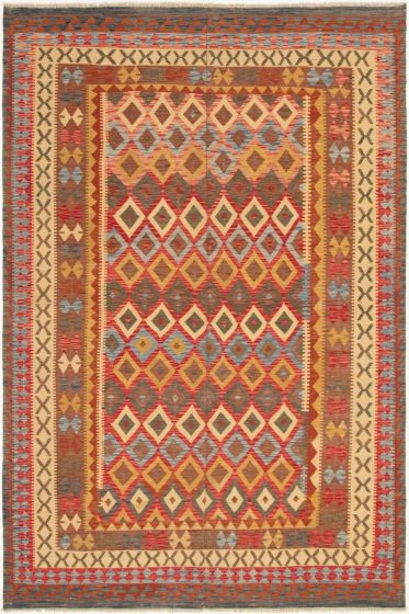 Bordered  Geometric Red Area rug 6x9 Turkish Flat-weave 297791