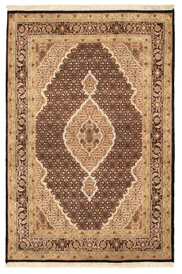 Bordered  Traditional Black Area rug 4x6 Indian Hand-knotted 309056