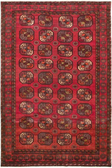 Bordered  Tribal Red Area rug 6x9 Russia Hand-knotted 319630