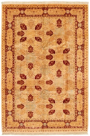 Bordered  Traditional Ivory Area rug 5x8 Pakistani Hand-knotted 330518