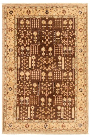 Bordered  Traditional Brown Area rug 5x8 Afghan Hand-knotted 331527