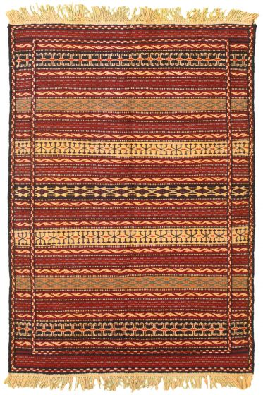 Flat-weaves & Kilims  Stripes Red Area rug 3x5 Turkish Flat-weave 334364