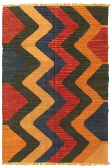 Casual  Transitional Blue Area rug 3x5 Turkish Flat-weave 335464