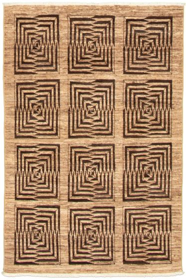 Casual  Transitional Brown Area rug 3x5 Pakistani Hand-knotted 338985