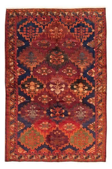 Bordered  Tribal Red Area rug 5x8 Turkish Hand-knotted 351601