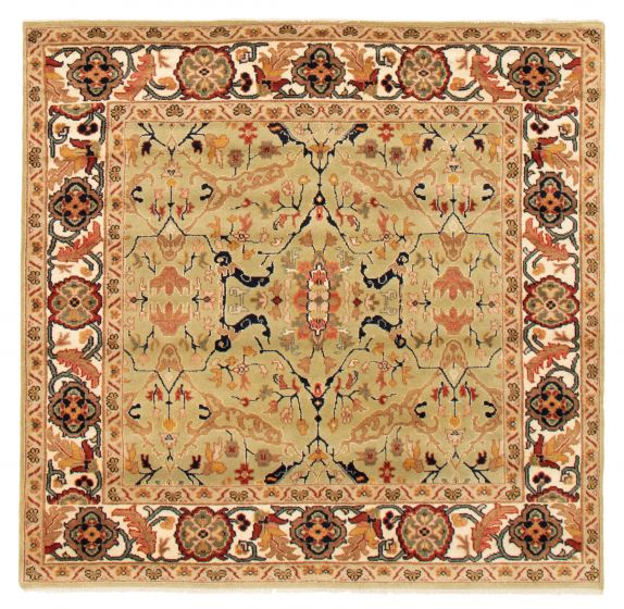 Bordered  Traditional Green Area rug Square Indian Hand-knotted 361663