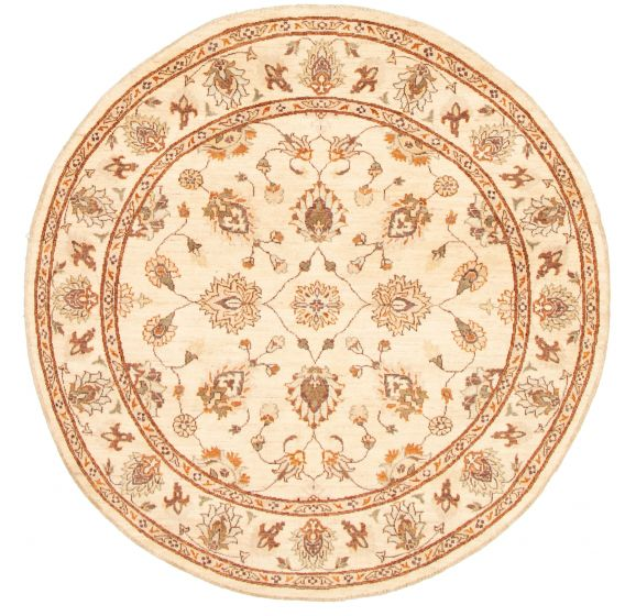Bordered  Traditional Ivory Area rug Round Afghan Hand-knotted 331501