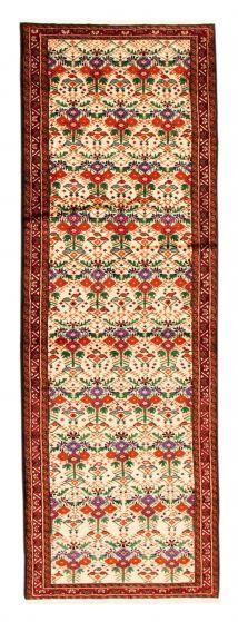Bordered  Tribal Ivory Runner rug 9-ft-runner Turkish Hand-knotted 352608
