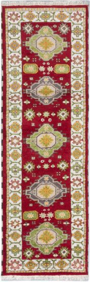 GeometricTraditional Red Runner rug 8-ft-runner Indian Hand-knotted 183208