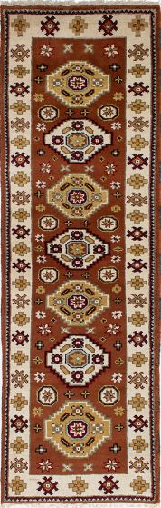 Traditional Pink Runner rug 8-ft-runner Indian Hand-knotted 233366