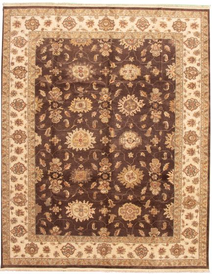 Traditional Brown Area rug 9x12 Indian Hand-knotted 164618