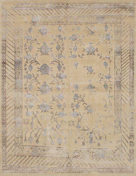 Transitional Brown Area rug 6x9 Indian Hand-knotted 221982