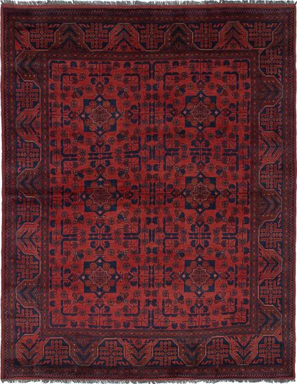 Traditional  Tribal Red Area rug 4x6 Afghan Hand-knotted 236170