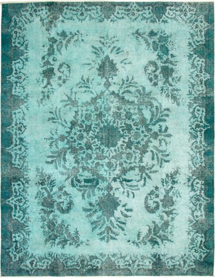 Overdyed  Transitional Green Area rug 9x12 Turkish Hand-knotted 293063