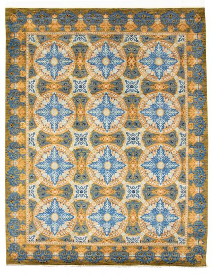 Bordered  Transitional Blue Area rug 8x10 Pakistani Hand-knotted 311148