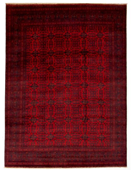 Bordered  Tribal Red Area rug 9x12 Afghan Hand-knotted 330008