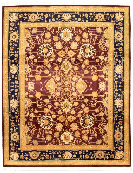 Bordered  Traditional Red Area rug 6x9 Pakistani Hand-knotted 330572
