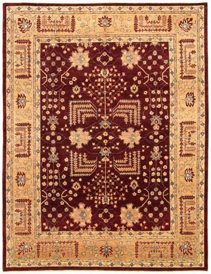 Bordered  Traditional Red Area rug 8x10 Afghan Hand-knotted 330641