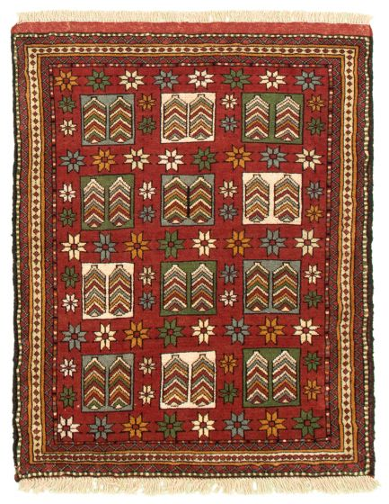 Bordered  Tribal Brown Area rug 3x5 Turkish Hand-knotted 334683