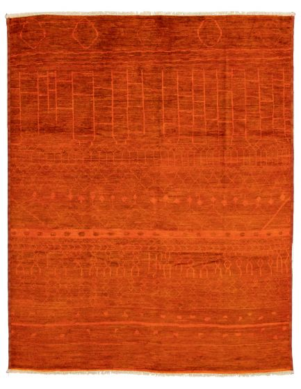 Casual  Transitional Orange Area rug 9x12 Pakistani Hand-knotted 337564
