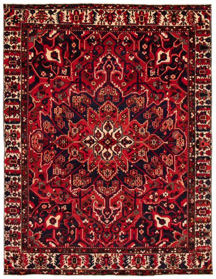 Bordered  Traditional Red Area rug 9x12 Persian Hand-knotted 367175