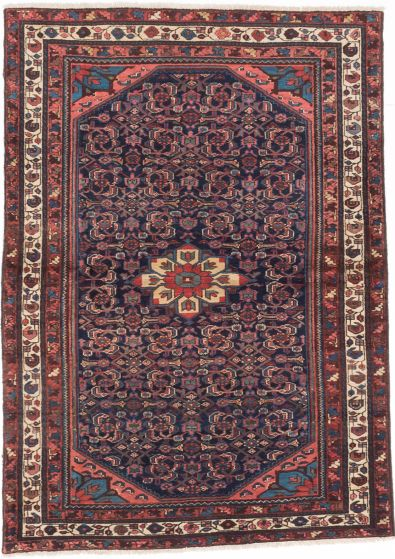 Traditional Blue Area rug 4x6 Persian Hand-knotted 203979