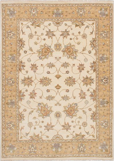 Traditional Ivory Area rug 4x6 Indian Hand-knotted 223773