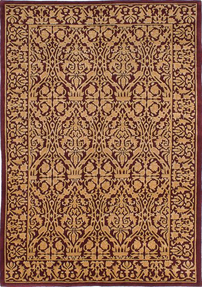 Transitional Red Area rug 5x8 Nepal Hand-knotted 230558