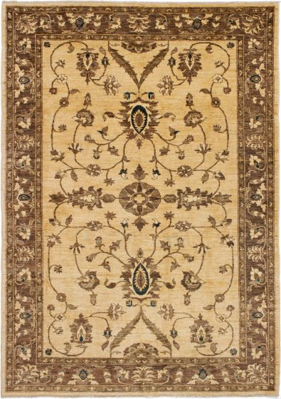 Bordered  Tribal Ivory Area rug 6x9 Afghan Hand-knotted 278414